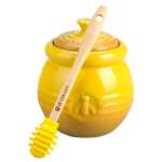 Le Creuset Dijon Stoneware Honey Pot With Silicone Honey Dipper 16 Ounce