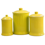 Omniware Simsbury 3 Piece Yellow Ceramic Canister Set
