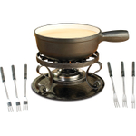 Swissmar Lugano 9 Piece Black Cheese Fondue Set