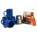 Barista Coffee Connoisseur 7 Piece Navy Mugs and Completer Set