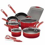 Rachael Ray Red Aluminum 14 Piece Cookware Set