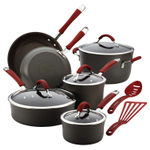 Rachel Ray Cucina Cranberry Red Hard-Anodized 12 Piece Nonstick Cookware Set