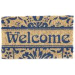 Entryways Damask Welcome Handwoven Coconut Fiber Coir 18 x 30 Inch Doormat