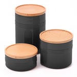 Le Creuset Black Stoneware 3 Piece Canister with Wooden Lid Set