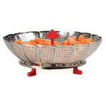 RSVP Endurance Steamin' In The Rain Stainless Steel 12 Inch Vegetable Steamer with Red Silicone Accents