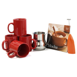 Barista Coffee Connoisseur 7 Piece Simply Red Mugs and Completer Set