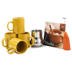 Barista Coffee Connoisseur 7 Piece Gold Mugs and Completer Set