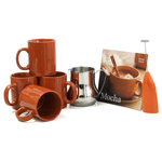 Barista Coffee Connoisseur 7 Piece Cinnamon Mugs and Completer Set