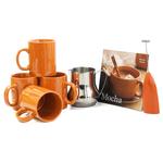 Barista Coffee Connoisseur 7 Piece Orange Mugs and Completer Set