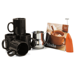 Barista Coffee Connoisseur 7 Piece Black Mugs and Completer Set