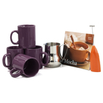 Barista Coffee Connoisseur 7 Piece Aubergine Mugs and Completer Set