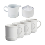 Le Creuset White Stoneware 6 Piece Coffee or Tea Service Set with Mugs and Cream & Sugar Set