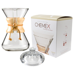 Chemex Wood Collar and Tie Glass 30 Ounce Coffee Maker with Cover and 100 Count Bonded Circle Coffee Filters