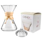 Chemex Wood Collar and Tie Glass 40 Ounce Coffee Maker with Cover and 100 Count Bonded Circle Coffee Filters