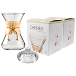 Chemex Wood Collar and Tie Glass 30 Ounce Coffee Maker with Cover and 200 Count Bonded Circle Coffee Filters