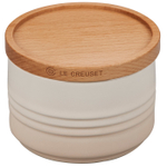 Le Creuset Meringue Stoneware 12 Ounce Canister with Wooden Lid