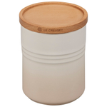 Le Creuset Meringue Enameled Stoneware 22 Ounce Canister with Wood Lid