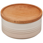 Le Creuset Meringue Enameled Stoneware 23 Ounce Canister with Wood Lid
