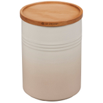 Le Creuset Meringue Enameled Stoneware 2.5 Quart Canister with Wood Lid