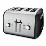 KitchenAid KMT4115OB Onyx Black 4-Slice Long Slot Toaster with Manual High Lift Lever