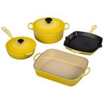 Le Creuset 6 Piece Signature Soleil Yellow Enameled Cast Iron Cookware Set
