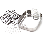 All-Clad 18/10 Stainless Steel Large Roti Roasting Pan with Rack and Forks