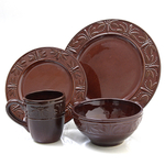 Bungalow 16 Piece Brown Stoneware Plate Dinnerware Set, Service for 4