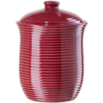 Oggi Small Red Ceramic Ribbed Food Storage Canister