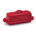 Chantal Red Stoneware Butter Dish, 8.5 Inch