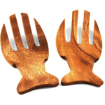 Pacific Merchants Acaciaware Fish Shaped Hand-Carved Salad Serving Set, 6.5 Inch