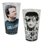 Universal Studios Animal House Movie Toga! Toga! Toga! and College Quotes 2 Piece 16 Ounce Pint Glass Set
