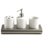 White Ceramic & Steel French Style Hotel Bathroom Accessories