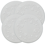"Range Kleen 4 Piece ""Ivy"" Round Embossed White Burner Kover Set"