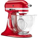 KitchenAid KSM155GBCA Artisan Series Candy Apple Red 5 Quart Tilt Head Stand Mixer with Glass Bowl