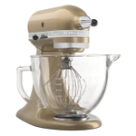 KitchenAid KSM155GBCZ Artisan Design Series Champagne Gold 5 Quart Tilt-Head Stand Mixer with Glass Bowl