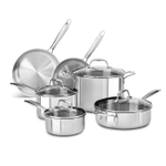 KitchenAid KC2TS10ST 10 Piece Tri-Ply Stainless Steel Cookware Set