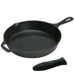 Lodge Logic 12 Inch Cast Iron Skillet with Helper Handle and Free Black Silicone Handle Holder
