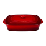 Le Creuset Cherry Stoneware Covered Rectangular Casserole Dish, 3.5 Quart