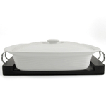 White Ceramic Rectangle Casserole Dish with Black Wood Tray 3 Quart