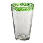 Artland Mingle Green Rim Glass 18 Ounce Tumbler