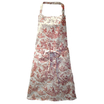 Red Toile Stain Resistant Decorator Tie Apron