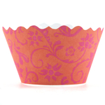 Bella Cupcake Couture Hannah Citrus and Bright Pink Mini Cupcake Wrapper, Set of 18