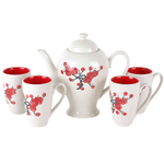 Asian Cherry Blossom Teapot & Teacup 5 Piece Set