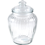 Anchor Hocking Optics Ribbed Glass Storage Jar 60 Ounce