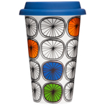 Sagaform Take Away Dandy Porcelain Double-Walled Mug with Blue Silicone Lid, 8.5 Ounce