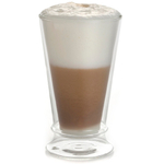 BonJour 12 Ounce Coffee and Tea Insulated Latte Glass Cup, Set of 2
