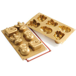 Silikomart Let's Celebrate Funny Christmas Gold Silicone Multi Cake Pan