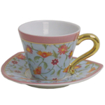 Porcelain Blue & Orange Flower Espresso Cup  Saucer Set