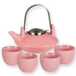 Saturn Pink Teapot & 4 Tea Cups, 6 Piece Set
