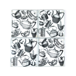 Coffee and Tea Coasters Clear Glass Nonskid 4 pieces